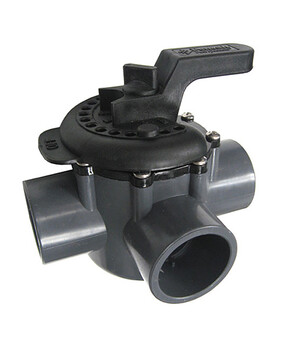 Onga / Pentair 3 Way Valve 40mm - PVC Pool Diverter Valve, Grey/Black