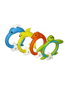 Poolmaster Soft Dive Animal Rings 4 Pack - Swimming Pool Toy - Undewater Game