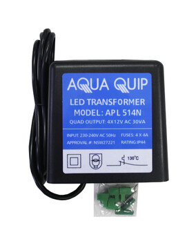 Aquaquip Plug-In 12V x 30VA (4 Outputs) Transformer for LED Pool Lights