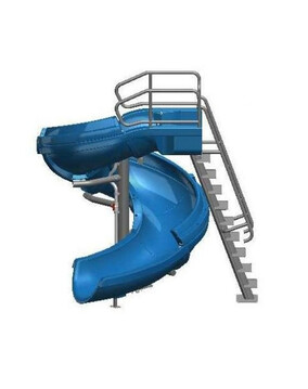 S. R. Smith Vortex Open Flume Commercial Pool Slide with Ladder (Blue)