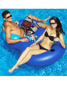 SwimSportz Cooler Combo: Double Pool Lounge Chair & Drink Holder
