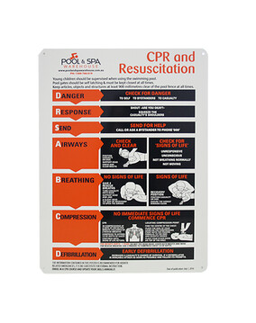 Large, Metallic CPR Resuscitation Chart / Safety Sign for Swimming Pools & Spa