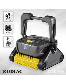 Zodiac CX35 Robotic Pool Cleaner w/Caddy & Timer + 100 Micron Filter for Fine Dust