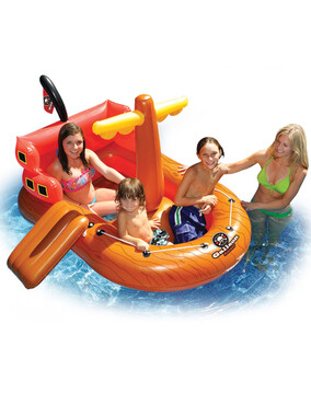 SwimSportz Galleon Rider Pirate Ship / Boat Squirter - Swimming Pool Inflatable / Toy