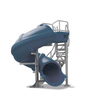 S. R. Smith Vortex Full Tube Commercial Pool Slide with Staircase (Grey Granite)