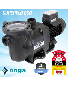Onga SuperFlo VS ECO 800 Energy Efficient Pool Pump. 4Y Warranty, 7 Star Rated