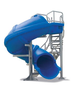 S. R. Smith Vortex Close Flume Commercial Pool Slide with Staircase (Blue)