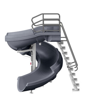 S. R. Smith Vortex Open Flume Commercial Pool Slide with Ladder (Gray Granite)